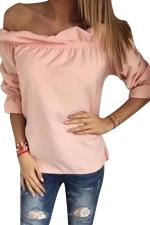 Womens Sexy Off Shoulder Ruffle Chiffon Blouse Pink