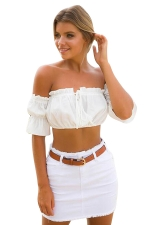 Womens Sexy Off-The-Shoulder Elastic Crop Top White