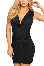 Womens Plain V-Neck Slimming Pleated Bodycon Dress Black