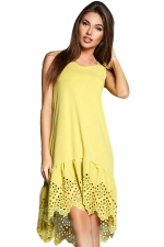 Womens Fashion Sleeveless Cut Out Back Smock Dress Yellow
