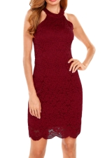 Womens Sexy Halter Zipper Lace Fitting Bodycon Dress Ruby