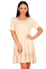 Womens Fashion Ruffled Hem Short Sleeve Smock Dress Apricot
