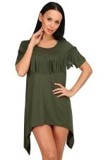 Womens Sexy Short Sleeve Fringe Irregular Hem Smock Dress Army Green
