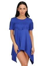 Womens Sexy Short Sleeve Fringe Irregular Hem Smock Dress Blue