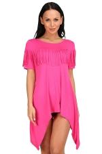 Womens Sexy Short Sleeve Fringe Irregular Hem Smock Dress Rose Red