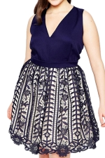Womens Sexy V-Neck Sleeveless Lace Patchwork Evening Dress Navy Blue