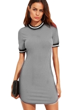 Womens Slimming Short Sleeve Stripe Bodycon Dress Gray