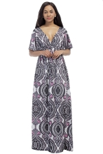 Womens Sexy Deep V-Neck Printed Plus Size Maxi Dress Gray