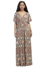 Womens Sexy Deep V-Neck Printed Plus Size Maxi Dress Khaki