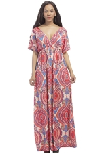 Womens Sexy Deep V-Neck Printed Plus Size Maxi Dress Watermelon Red