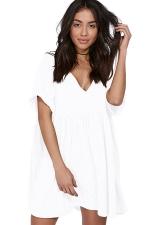 Womens Casual V-Neck Short Sleeve Smock Dress White