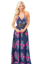 Womens Sexy Halter Open Back Floral Printed Maxi Dress Navy Blue