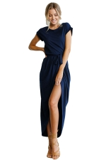Womens Sexy Plain Waistband Pleated High Slit Maxi Dress Navy Blue