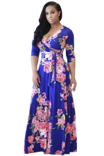 Womens Sexy Deep V-Neck Floral Printed Maxi Dress Blue