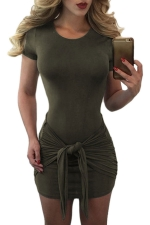 Womens Sexy Short Sleeve Bandage Bodycon Dress Army Green