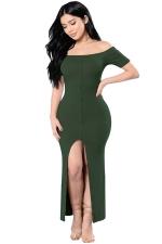 Womens Sexy Off Shoulder High Slits Knitted Clubwear Dress Green