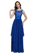 Womens Lace Patchwork Sleeveless V-Neck Back Evening Dress Blue