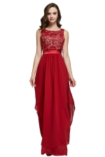 Womens Lace Patchwork Sleeveless V-Neck Back Evening Dress Red
