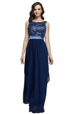 Womens Lace Patchwork Sleeveless V-Neck Back Evening Dress Navy Blue
