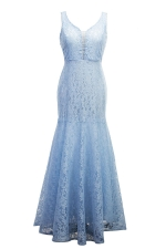 Womens Sexy Lace Mermaid See Through Maxi Evening Dress Light Blue
