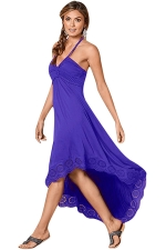 Womens Sexy Halter Deep V-Neck Backless High Low Evening Dress Blue