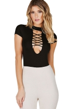 Womens Sexy Mock Neck Lace Up Cleavage Bodysuit Black
