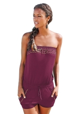 Womens Sexy Strapless Wave Strips Draw String Romper Ruby