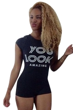 Womens Sexy High Waist Open Back Letters Printed Romper Black