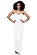 Womens Sexy Straps Lace Up High Waist Wide Legs Jumpsuit White