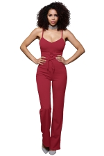 Womens Sexy Straps Lace Up High Waist Wide Legs Jumpsuit Ruby