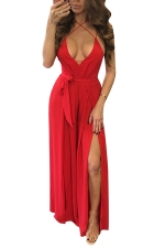 Womens Sexy Cross Straps Backless High Slits Jumpsuit Red