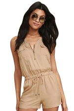 Womens Zipper Pocket Draw String Sleeveless Romper Khaki