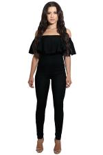 Womens Sexy Ruffle Off Shoulder High Waist Jumpsuit Black