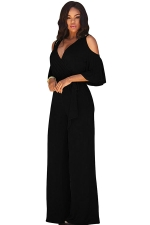 Womens Sexy Cold Shoulder V-Neck Draping Bandage Jumpsuit Black