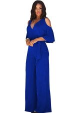Womens Sexy Cold Shoulder V-Neck Draping Bandage Jumpsuit Sapphire Blue