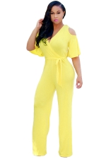 Womens Sexy Cold Shoulder V-Neck Draping Bandage Jumpsuit Yellow