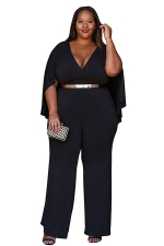 Womens Sexy Plus Size Deep V-Neck High Waist Jumpsuit Black
