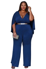 Womens Sexy Plus Size Deep V-Neck High Waist Jumpsuit Sapphire Blue