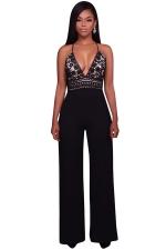 Womens Halter Lace Patchwork Deep V-Neck Wide Legs Jumpsuit Black