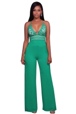 Womens Halter Lace Patchwork Deep V-Neck Wide Legs Jumpsuit Green