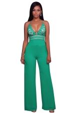 Womens Halter Lace Patchwork Deep V-Neck Wide Legs Jumpsuit Green