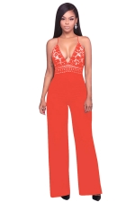 Womens Halter Lace Patchwork Deep V-Neck Wide Legs Jumpsuit Orange Red