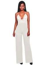 Womens Halter Lace Patchwork Deep V-Neck Wide Legs Jumpsuit White