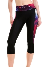 Womens High Waist Galaxy Printed Cropped Sport Leggings Purple