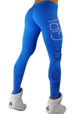 Womens Letters Printed Slimming Sports Wear Leggings Blue