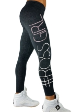 Womens Letters Printed Slimming Sports Wear Leggings Dark Green
