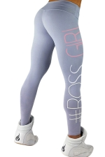 Womens Letters Printed Slimming Sports Wear Leggings Light Gray