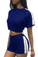 Womens Sexy Lace-Up Crop Top&Shorts Sport Suit Sapphire Blue