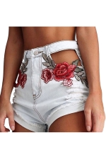 Womens High Waist Cut Out Flower Embroidered Jeans Shorts White