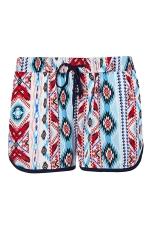 Womens Geometrical Printed Draw String Shorts Ruby